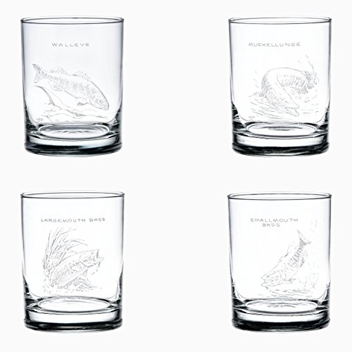 Ned Smith Freshwater Fish 14-Ounce (DOF) Double Old Fashioned Glass Assorted Set of 4 -