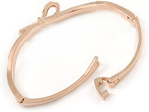 18cm L Delicate Rose Gold Tone Crystal Bow Bangle Bracelet