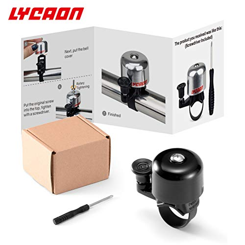 LYCAON Bicycle Bike Bell (One Size Fit All) with Instruction, Loud Crisp Sound Mini Black Bike Horn Accessories for Bicycle Scooter MTB BMX Kids Bike Cruiser Handlebar