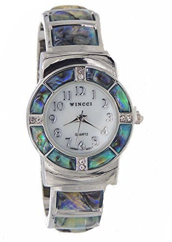 Abalone Watch Bangle Cuff Inlay Style with Crystal Accents by Wincci (Image #4)
