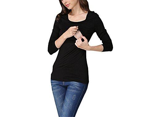 Girocollo Morbidi Strati Colore Puro Manica Maglietta Shirt Aivosen Doppi Top Breastfeeding Comoda Lunga Black Cotone Donna Semplice Casual Gravidanza L'Allattamento T 7qHnHwYPFx
