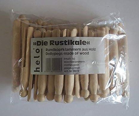 Sturmklammer aus Holz,Bastelklammer Rundkopfwäscheklammern,Wäscheklammer 50 St