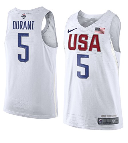 NIKE Men's Team USA 2016 Rio Olympic Games Size Medium Kevin Durant #5 Authentic White Basketball Jersey