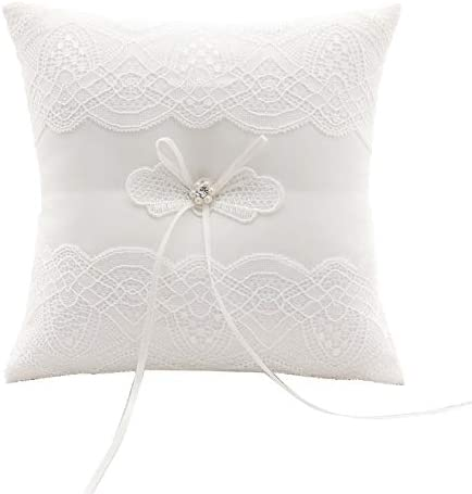 Wedding Ring Pillow Ring Bearer Pillow Satin Lace Ring Pillow Wedding Pillow Ring Cushion Ring Bearer White Wedding Ring Pillow