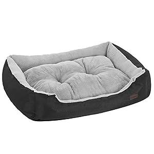 FEANDREA Cama para Perro, Sofá para Perro, 70 x 55 x 21 cm, Negro y Gris PGW03BG
