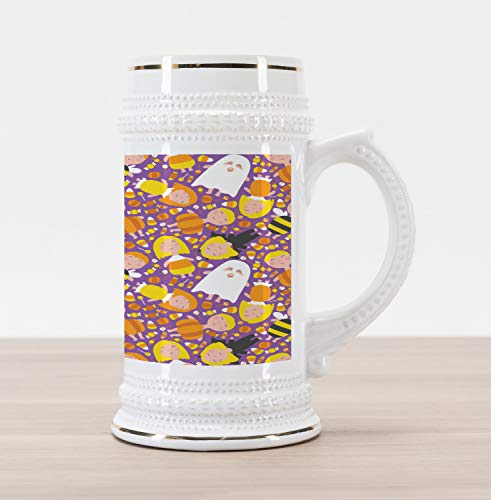 Ambesonne Ghost Beer Stein Mug, Cheerful Kids in Different Halloween Costumes Happy Fun Party Trick or Treat Night, Traditional Style Decorative Printed Ceramic Large Beer Mug Stein, Multicolor ()