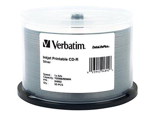 Verbatim CD-R 700MB 52X DataLifePlus Silver Inkjet Printa...