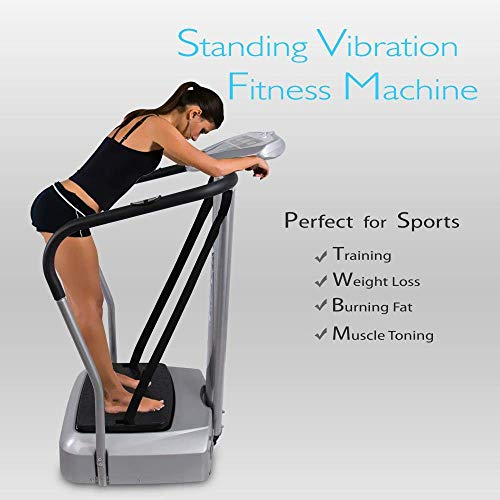 Upgraded Standing Vibration Platform Machine – Full Body Fitness Exercise Trainer, Crazy Fit Massager w/ 3 LED Screen, 2…