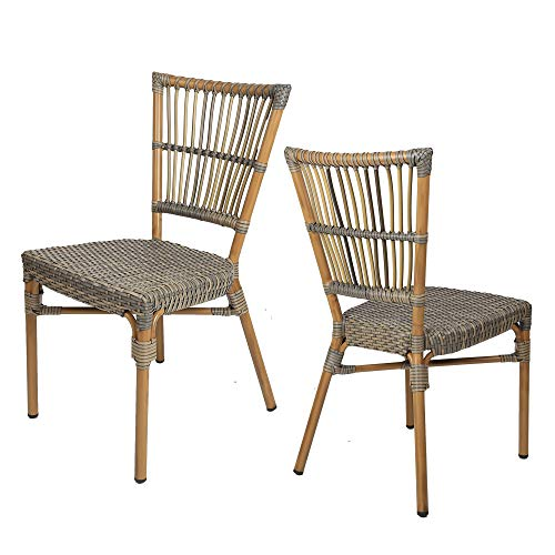(LUCKYERMORE Patio Wicker Chairs Set of 2 Ultra-Light Outdoor Lawn Garden Bistro Dining Chairs in PE Rattan and Aluminum)
