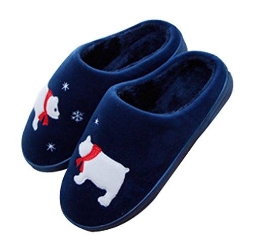 Cattior Heren Bont Gevoerd Warme Indoor Pantoffels Zachte Pantoffels Blauw