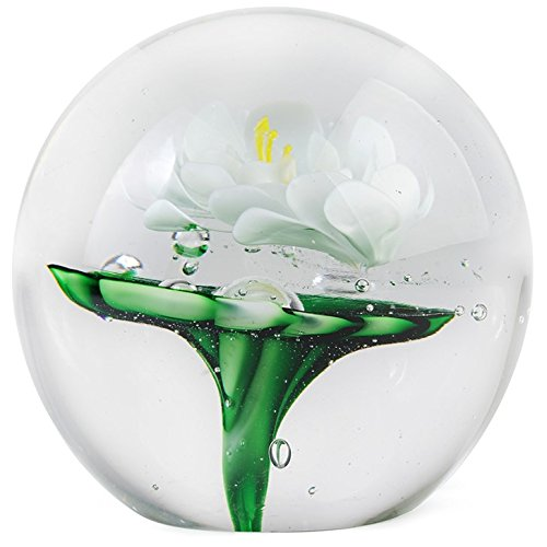 - LARGE PAPERWEIGHT - WHITE WATER LILY