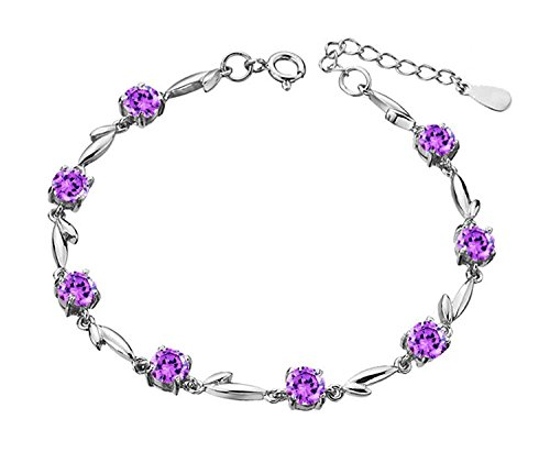 Sterling Silver Purple Leaf & Flower Link Chain Bracelet for Women, - Leaf Silver Sterling Link