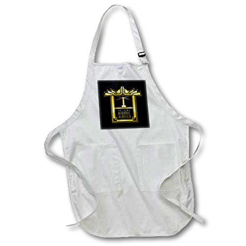 (3D Rose Art Deco Design- Retro Deluxe Home Radio in Gold Effect Medium Length Apron - with Pouch Pockets 22 x 24)