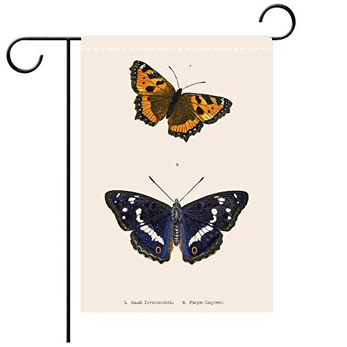 Wlioohhgs Custom Personalized Garden Flag Outdoor Flag British Butterfly Illustrations Hand Coloured Engraving Best for Party Yard and Home Outdoor ()