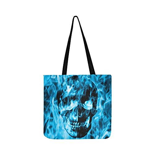 Skull Emerge From Blue Fire Or Blue Smoke Canvas Tote Handbag Shoulder Bag Crossbody Bags Purses For Men And Women Shopping -