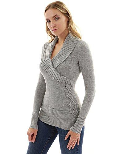 PattyBoutik Women Shawl Collar Faux Wrap Lace Up Sweater (Light Gray Small)