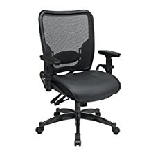 Office Star Space Collection: Leather Seat And Air Grid Back Managers Chair In Black