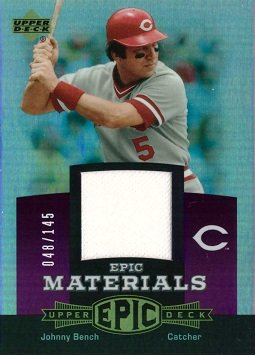 2006 Upper Deck Epic Materials Relics #EM-JB1 Johnny Bench Game Worn Jersey Baseball Card - Only 145 made!