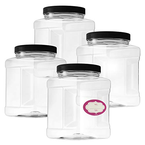 Pack of 4-32 Oz Large Clear Empty Plastic Storage Jars with Lids - Square Food Grade Container with Easy Grip Handles - Multi Purpose Jar BPA Free (Square Plastic Jars)