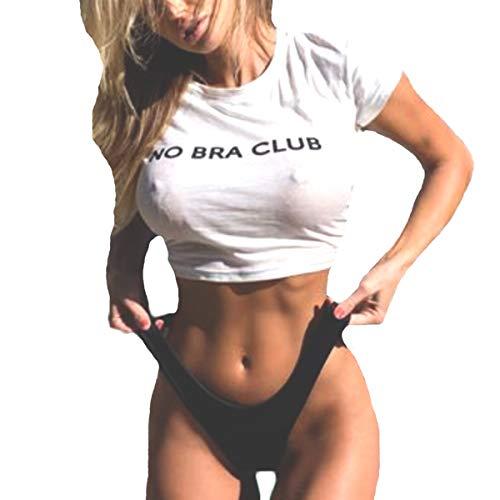 - Womens Teen Girls O Neck Short Sleeve NO BRA CLUB Crop Top Cotton T-shirts (M)