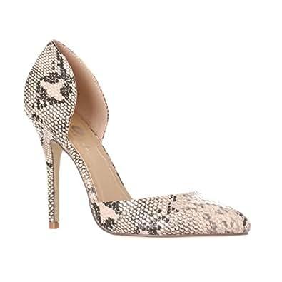 Riverberry Women's Nora Pointed Toe Slip On D'Orsay Pump Heels, Beige Python, 6