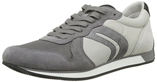 Geox Men's U Vinto C Low-Top Sneakers, Black Grey (Anthracite/Papyrusc9a1s)