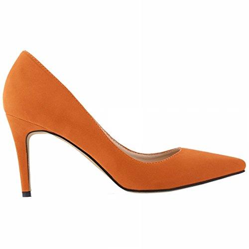 Loslandifen Womens Closed Toe High Heels Pointed Slender Stiletto Pumps Orange Ve 8cm TESVoRC7