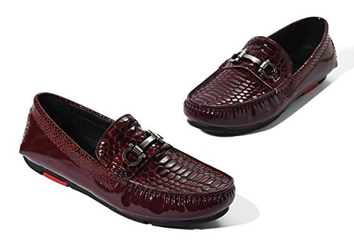 HAPPYSHOP(TM) Mens Genuine Leather Casual Weave SLIP-ON Business Penny Loafer Driving Shoes Wine Red (Style B) YmSO48oy
