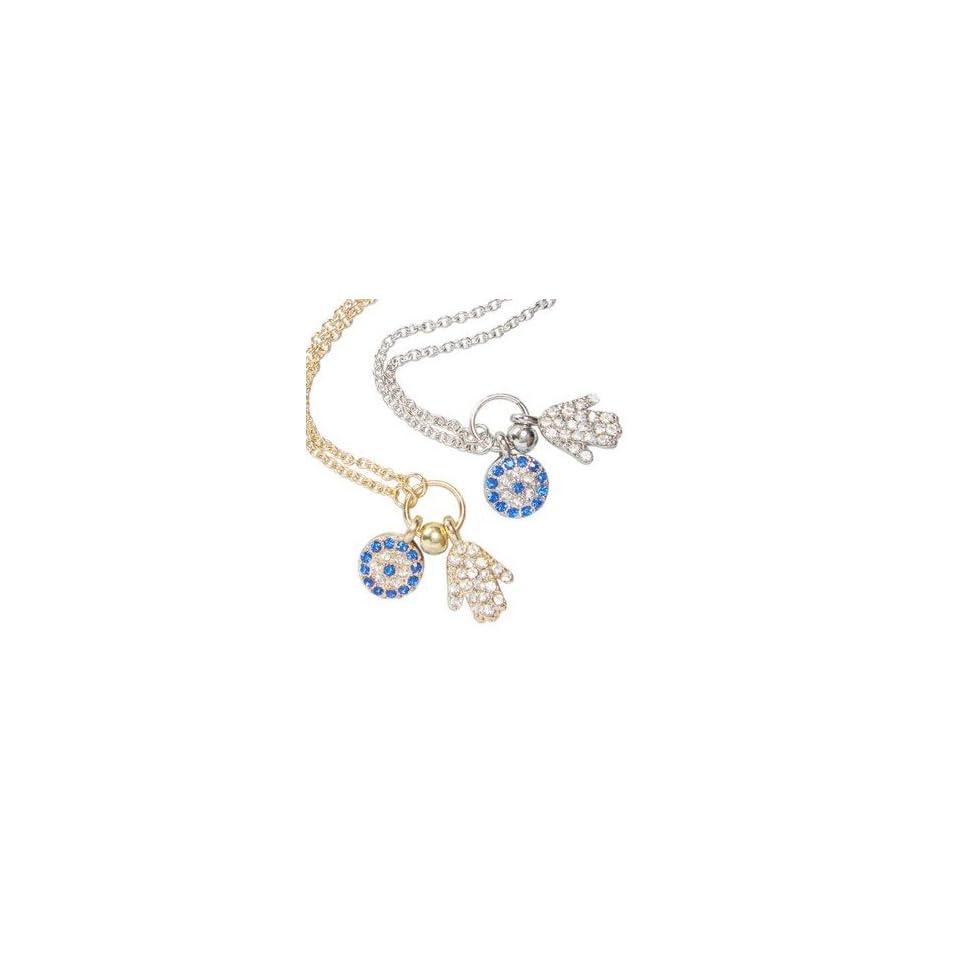 WIIPU hand evil eye turkish evil eye jewelry women crystal necklace(wiipu B396) (silver)