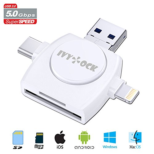 SD & Micro SD Card Reader - Memory Card Camera Reader Adapter for iPhone/iPad/GALAXY S8/Android/Mac/PC/MacBook. With Lightning,Micro USB,USB Type C,USB 3.0 Connector (4 in 1) by IVYOCK (Image #8)