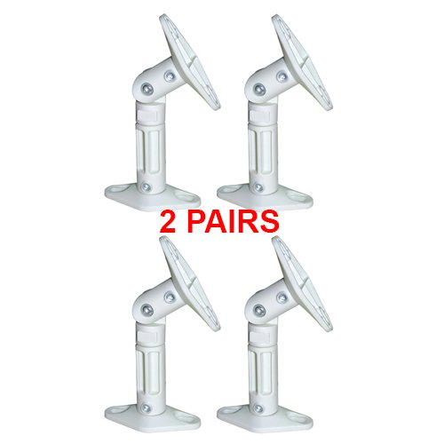 Cmple - White Universal Tilting Wall and Ceiling Brackets for Satellite Speakers - 2 Pairs