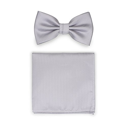 - Bows-N-Ties Men's Solid Pre-Tied Bow Tie and Pocket Square Set Matte Herringbone Finish (Silver)