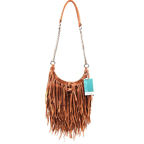 - LUI SUI Women's Fashion Fringed Shoulder Bag Tassel Cross Body Bags (Brown)