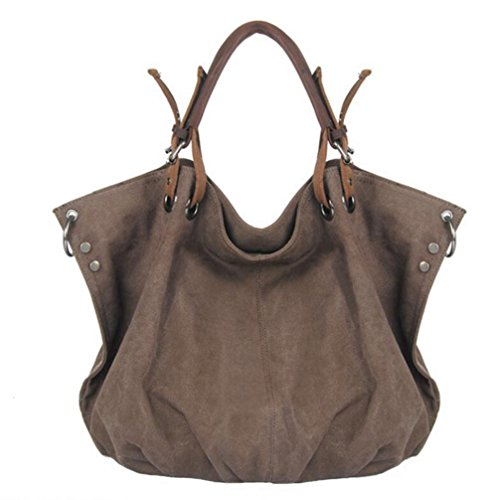 - FXTXYMX Oversized Vintage Hobo Canvas Leather Tote Handbag Crossbody Shoulder Bag Purse for Women (Coffee)