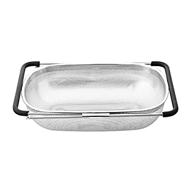 Cook N Home Micro Perforated Colander Over The Sink Expandable Handle, 13.5-Inch by 9-Inch, Stainless Steel