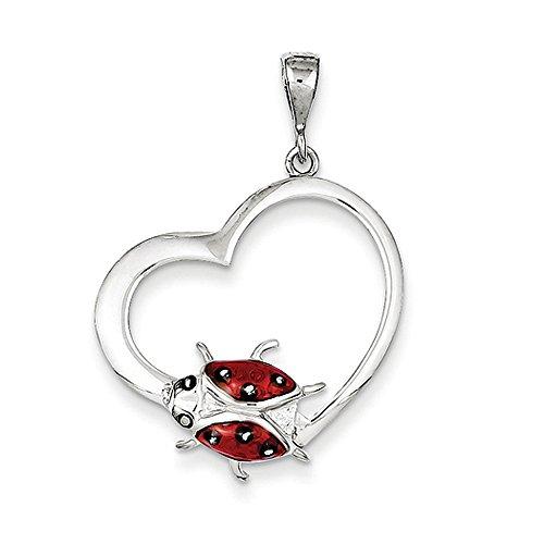 Silver Ladybug Pendant - Sterling Silver and Enameled Open Heart Ladybug Pendant, 22mm