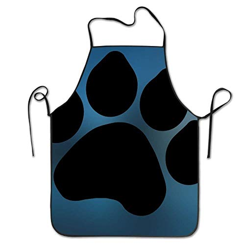 Print Dog Clipart (SPXUBZ Dog Paw Print Clip Art New Adult Kids Child Baking Restaurant Pinafore with Neck Strap Waterproof Cooking Apron Durable Standar Size)