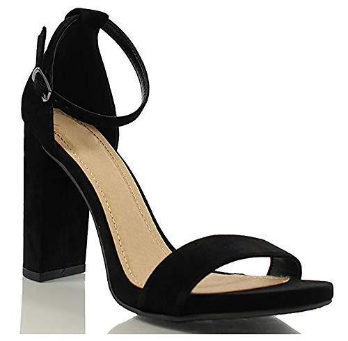 MVE Shoes Women's Stiletto Pumps High Heels Open Toe Ankle Strap Platform, Black NBPU Size 10