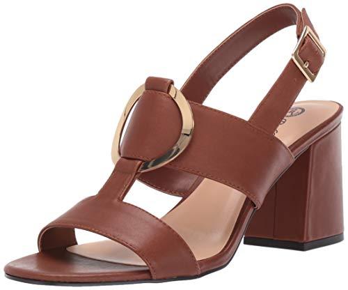 Bella Vita Women's Tanya Slingback Sandal with Metal Ornament Shoe, Dark Tan Leather, 10 M US