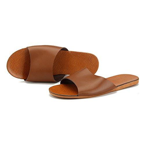 Men Leather M for Autumn Anti Summer Slippers Floor Smelly TELLW Corium Spring Cowhide Wooden Women Brun x7Ww6