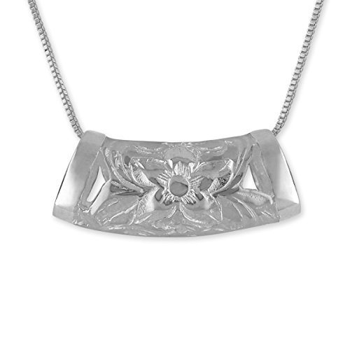 "Sterling Silver Macaroni Barrel Pendant Necklace, 16+2"" Extender -  Hawaiian Silver Jewelry, HSJP566OT"