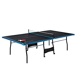 MD Sports Table Tennis Set, Regulation Ping Pong Table Net, Paddles Balls (8 Pieces) - Black & Light Blue