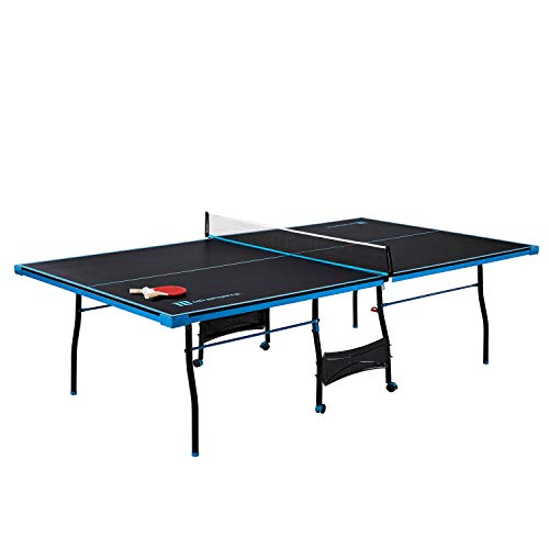 MD Sports Table Tennis Set, Regulation Ping Pong Table with Net, Paddles and Balls (8 Pieces) - Black & Light Blue