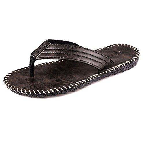 Pantofole Casual Da Uomo In Pelle Da Spiaggia Estiva In Pelle 822 Nere