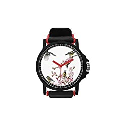 Flying Birds Decor Unisex Strap Plastic Watch,Group of Cute Humming Birds on a Flowering Branch Best Friends Peace Illustration Home for Fashion,Diameter(Watch face): 1.5