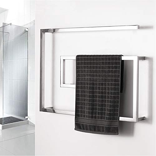 - BILLY'S HOME Stainless Steel Towel Warmer, Electric Heated Towel Rack, Hot Towel Rail with Square Bars for Bathroom Kitchen Hotel 800 × 600 × 115mm,Hardwiring
