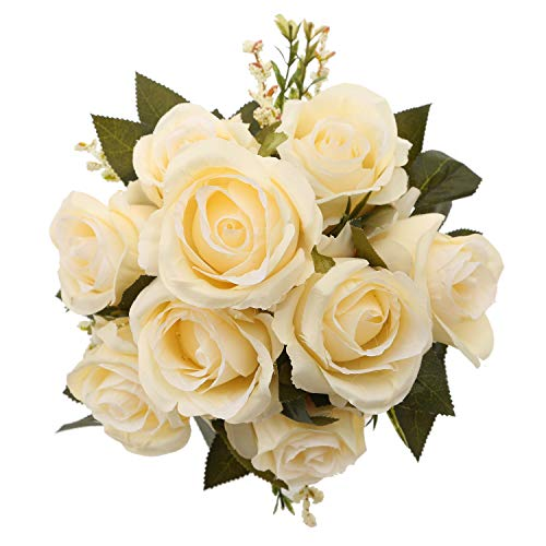 - MeHelany Fake Rose Flowers,Artificial Handmade 9 Heads Silk Wedding Bouquet Floral Table Centerpiece, Home, Party, Bridal Decoration Pack of 1 (Cream)