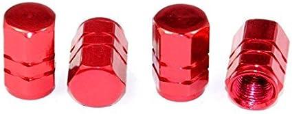 4 X Bolt On Red Aluminum Tube Less Valve Stems With Dust Caps Set For Lexus Mazd