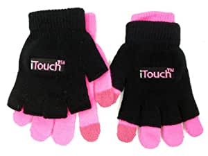 Itouch Touchscreen Glove for Women - 3 in 1 - Black and Hot Pink