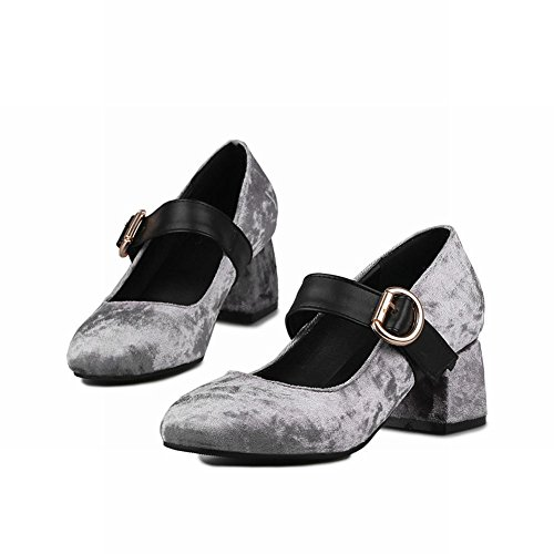 Carolbar Women's Elegant Charm Mid Heel Square Toe Buckle Court Shoes Grey OAmIw